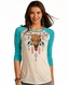 Rock & Roll Cowgirl Women's 3/4 Sleeve Print Top - Turquoise (Closeout)
