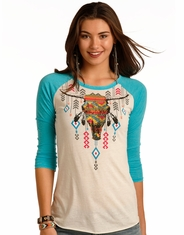Rock & Roll Cowgirl Women's 3/4 Sleeve Print Top - Turquoise