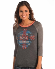 Rock & Roll Cowgirl Women's 3/4 Sleeve Rodeo Print Top - Grey (Closeout)