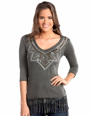 Rock & Roll Cowgirl Women's 3/4 Sleeve Studded Fringe Logo Top - Grey (Closeout)
