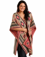 Rock & Roll Cowgirl Women's Aztec Poncho - Taupe (Closeout)