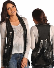 Rock & Roll Cowgirl Women's Braided Slash Fringe Vest - Black (Closeout)