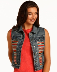 Rock & Roll Cowgirl Women's Embroidered Vest - Blue (Closeout)