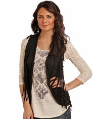Rock & Roll Cowgirl Women's Fringe Vest - Black (Closeout)