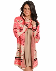 Rock & Roll Cowgirl Women's Long Sleeve Aztec Cardigan - Pink (Closeout)