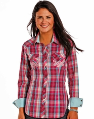 Rock & Roll Cowgirl Women's Long Sleeve Embroidered Plaid Snap Shirt - Pink