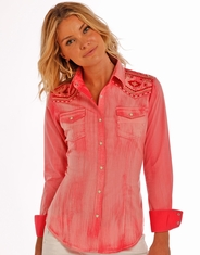 Rock & Roll Cowgirl Women's Long Sleeve Embroidered Snap Shirt - Orange