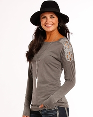Rock & Roll Cowgirl Women's Long Sleeve Embroidered Top - Grey