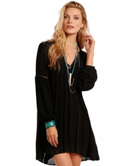 Rock & Roll Cowgirl Women's Long Sleeve Lace Cutout Dress - Black