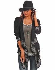 Rock & Roll Cowgirl Women's Long Sleeve Open Front Crinkle Top - Black