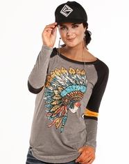 Rock & Roll Cowgirl Women's Long Sleeve Print Top - Grey (Closeout)