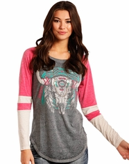 Rock & Roll Cowgirl Women's Long Sleeve Print Top - Pink (Closeout)