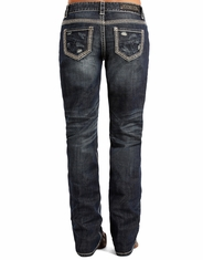 Rock & Roll Cowgirl Women's Low Rise Boyfriend Fit Boot Cut Jeans - Dark Vintage (Closeout)