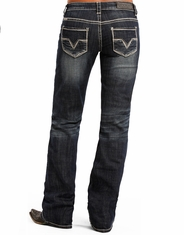 Rock & Roll Cowgirl Women's Low Rise Boyfriend Fit Boot Cut Jeans - Dark Vintage