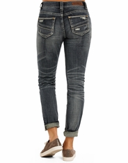 Rock & Roll Cowgirl Women's Low Rise Boyfriend Fit Skinny Jeans - Medium Vintage (Closeout)
