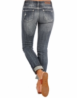 Rock & Roll Cowgirl Women's Low Rise Boyfriend Fit Skinny Jeans - Medium Wash (Closeout)