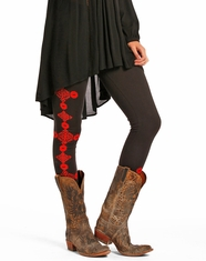 Rock & Roll Cowgirl Women's Low Rise Print Legging - Black