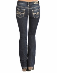 Rock & Roll Cowgirl Women's Low Rise Rival Slim Fit Bootcut Jean - Dark Vintage (Closeout)