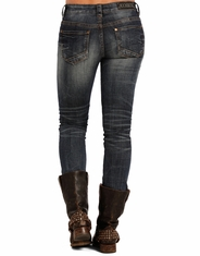 Rock & Roll Cowgirl Women's Low Rise Skinny Jeans - Dark Vintage