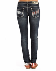 Rock & Roll Cowgirl Women's Low Rise Skinny Jeans - Dark Wash (Closeout)