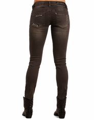 Rock & Roll Cowgirl Women's Low Rise Skinny Jeans - Grey Wash (Closeout)