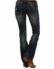 Rock & Roll Cowgirl Women's Low Rise Slim Fit Boot Cut Jeans - Dark Vintage