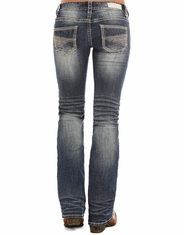 Rock & Roll Cowgirl Women's Low Rise Regular Fit Boot Cut Jeans - Medium Vintage