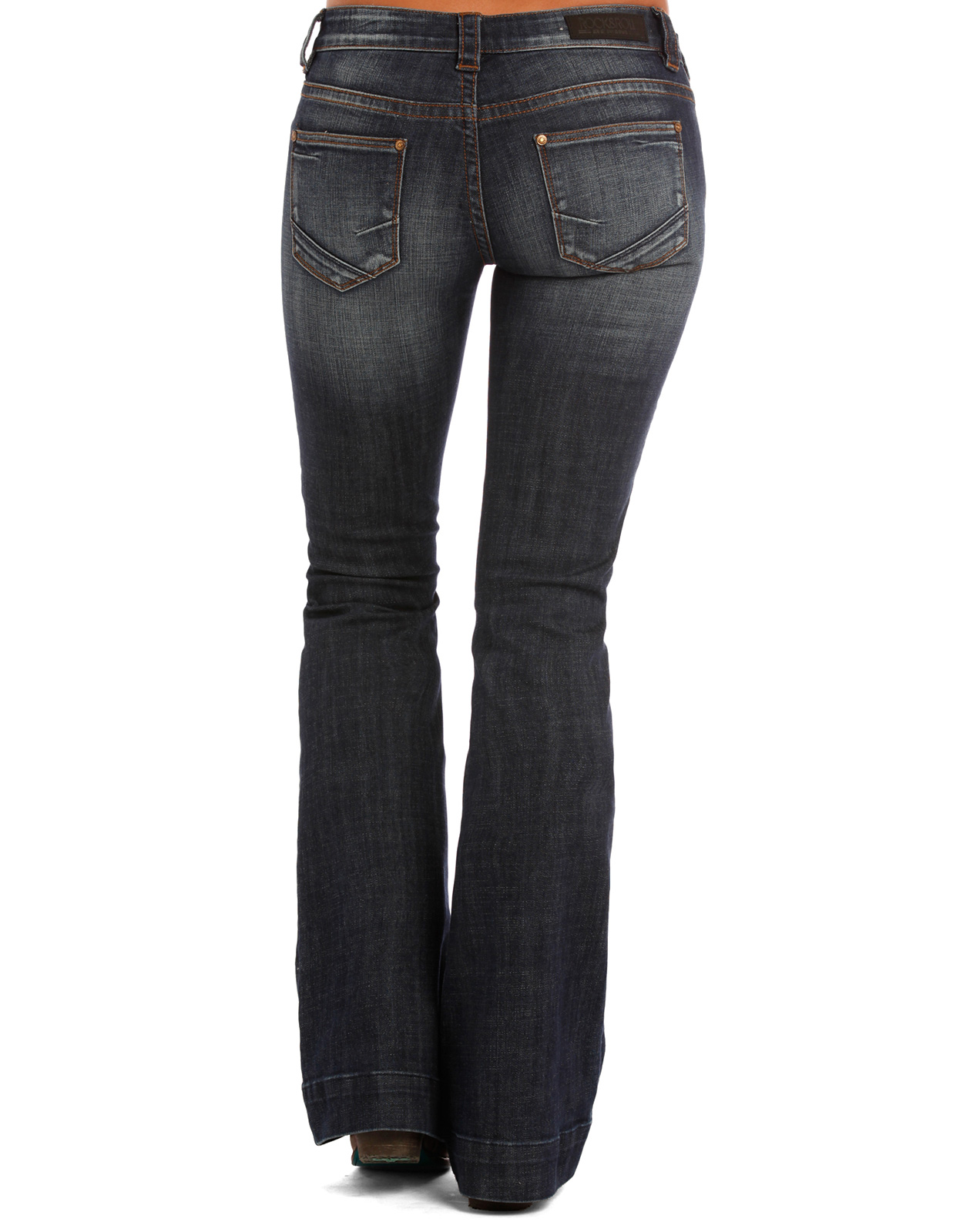 Product Description Indigo waist smoother boot cut jean is a pull on jean with an elastic.