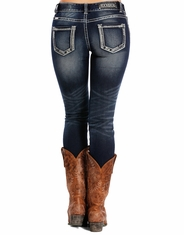 Rock & Roll Cowgirl Women's Mid Rise Skinny Jeans - Dark Vintage