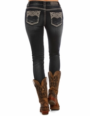 Rock & Roll Cowgirl Women's Mid Rise Skinny Jeans - Dark Wash