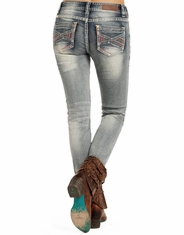 Rock & Roll Cowgirl Women's Mid Rise Skinny Jeans - Light Vintage