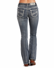 Rock & Roll Cowgirl Women's Mid Rise Slim Fit Boot Cut Jean - Medium Vintage (Closeout)