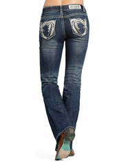 Rock & Roll Cowgirl Women's Mid Rise Slim Fit Bootcut Jean-Dark Vintage (Closeout)