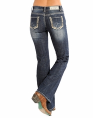 Rock & Roll Cowgirl Women's Riding Fit Low Rise Bootcut Jean-Dark Vintage (Closeout)