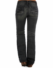 Rock & Roll Cowgirl Women's Riding Fit Low Rise Regular Fit Bootcut Jeans -Dark Vintage