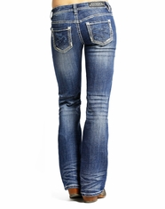 Rock & Roll Cowgirl Women's Riding Fit Low Rise Slim Fit Bootcut Jean-Medium Vintage (Closeout)