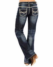 Rock & Roll Cowgirl Women's Riding Low Rise Regular Fit Boot Cut Jeans - Dark Vintage (Closeout)