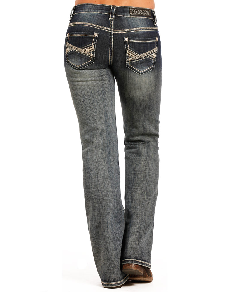 Rock & Roll Cowgirl Women's Riding Low Rise Regular Fit Boot Cut Jeans - Medium Vintage