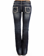 Rock & Roll Cowgirl Women's Rival Low Rise Boot Cut Jeans - Dark Wash