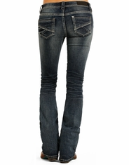 Rock & Roll Cowgirl Women's Rival Low Rise Slim Fit Boot Cut Jeans - Dark Vintage