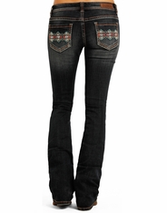 Rock & Roll Cowgirl Women's Rival Low Rise Slim Fit Boot Cut Jeans - Dark Wash