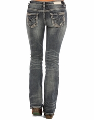 Rock & Roll Cowgirl Women's Rival Low Rise Slim Fit Boot Cut Jeans - Medium Vintage