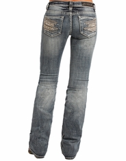Rock & Roll Cowgirl Women's Rival Mid Rise Boot Cut Jeans - Light Vintage