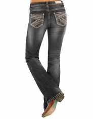 Rock & Roll Cowgirl Women's Rival Mid Rise Slim Fit Boot Cut Jeans - Dark Vintage