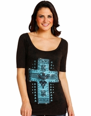 Rock & Roll Cowgirl Women's Short Sleeve Aztec Print Top - Black