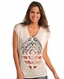 Rock & Roll Cowgirl Women's Short Sleeve Hooded Print Poncho - Eggshell (Closeout)
