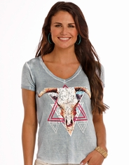 Rock & Roll Cowgirl Women's Short Sleeve Print Top - Blue (Closeout)