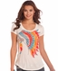 Rock & Roll Cowgirl Women's Short Sleeve Print Top - White (Closeout)
