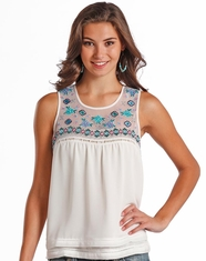 Rock & Roll Cowgirl Women's Sleeveless Embroidered Top - White (Closeout)