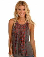 Rock & Roll Cowgirl Women's Sleeveless Fringe Print Tank Top - Grey